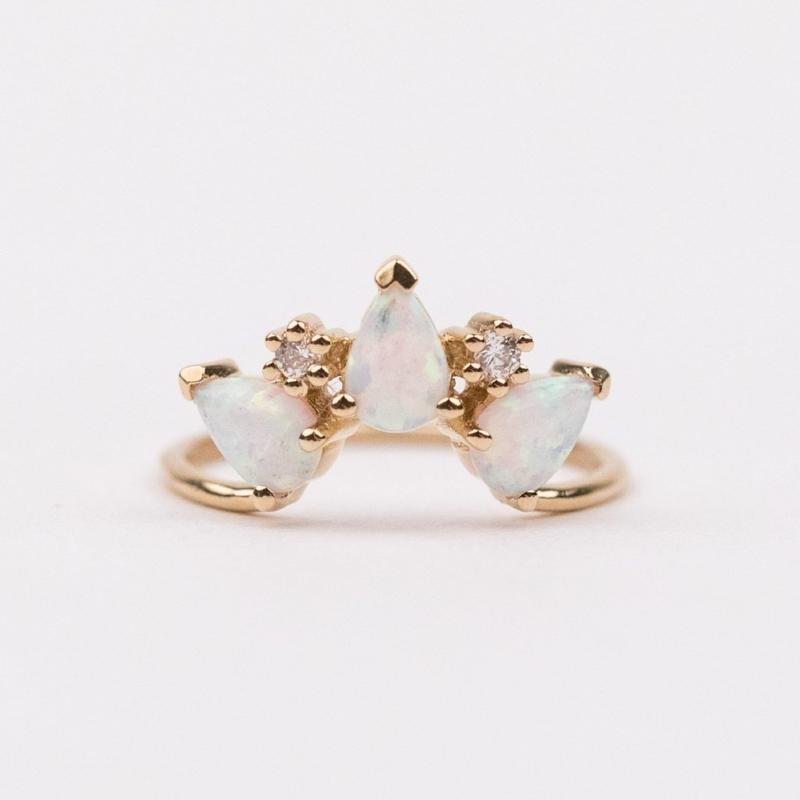 Opal & Diamond Archer Ring