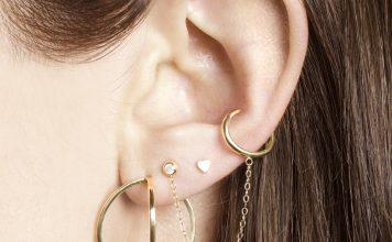 Tiny Diamond Ear Cuff Chain Earring